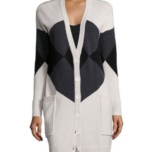 HAUTE HIPPIE LONG SLEEVE ARGYLE CARDIGAN SWEATER